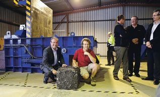 Waste Authority chairman Marcus Geisler with Garbologie founder Adam Johnson.