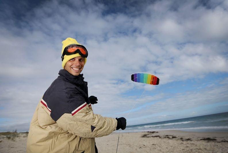 Geoff Wilson snow kiting in Antarctica this year.