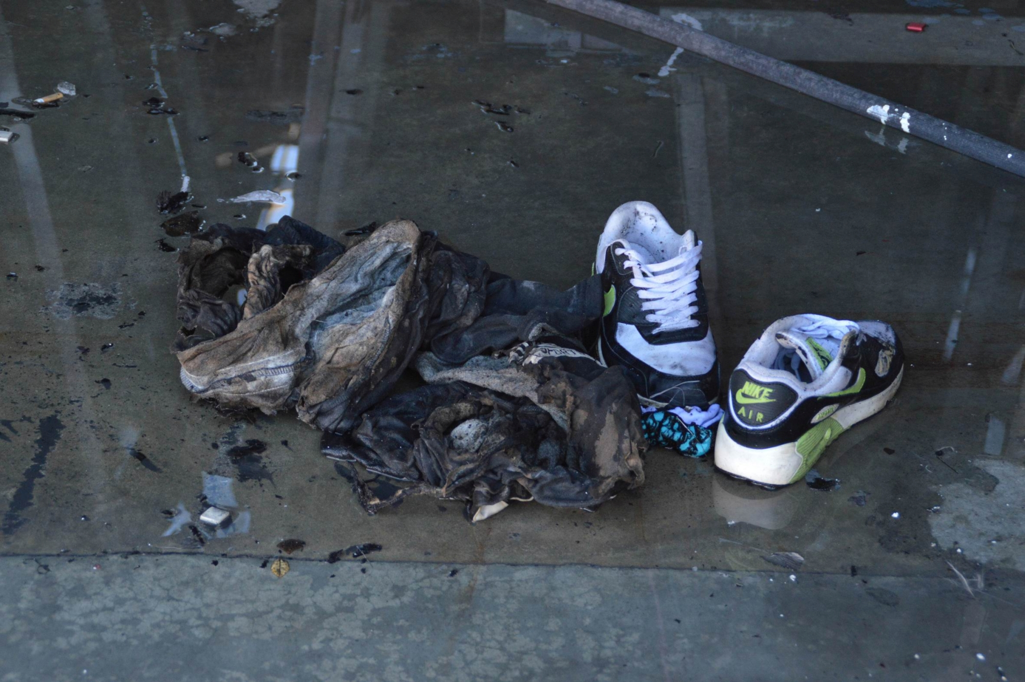 The 33-year-old Balga man's shoes and clothes after the accident. Pictures: Imogen Williams