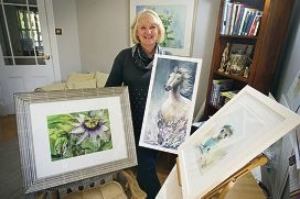 June Sullivan with some of her paintings now on show. d421478