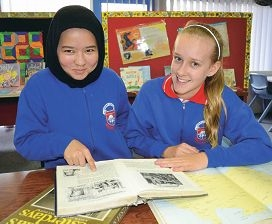 Forrestfield PS students Saira Akbari and Katelin Holland are researching the area to come up with names for the new faction houses.