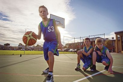 Keen basketballers Nathan Dray, Liam Arnold and Matthew Keedy.
