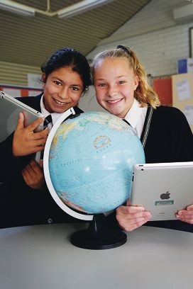 Perth College students Basira Khan and Ellen Cutler are using Skype to learn about geography. Picture: Andrew Ritchie www.communitypix.com.au d421329