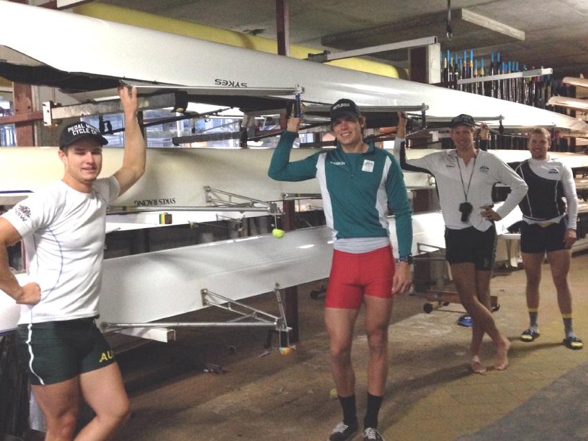 Australian under-23 men's quad scull Robert Black, Tom Schramko, Luke Letcher and Caleb Antill.