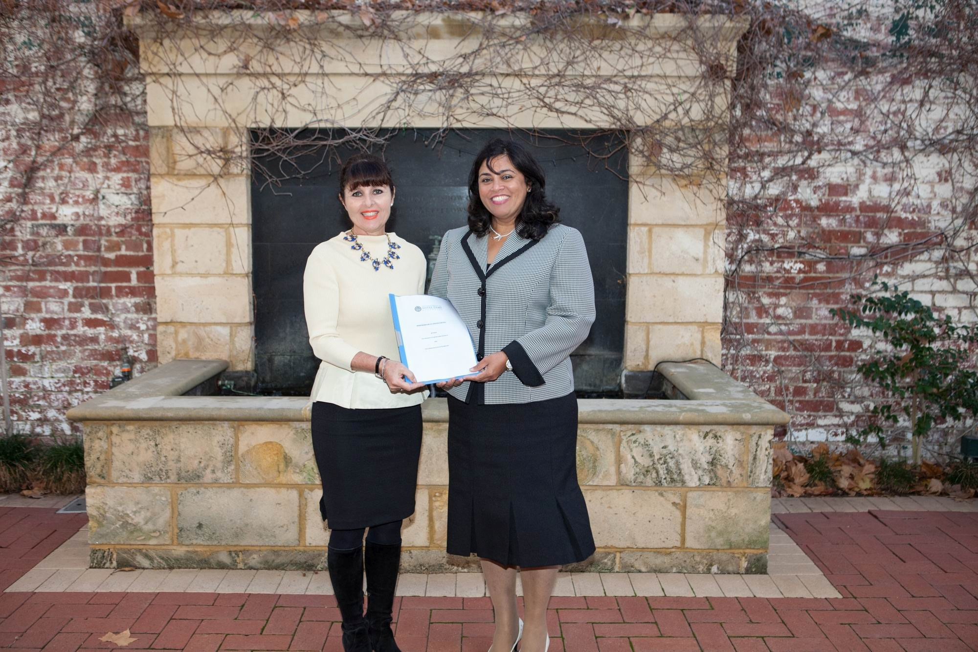 Challenger Institute chief executive Liz Harris and Notre Dame pro vice-chancellor Professor Selma Alliex.