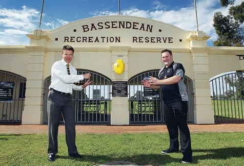 Swan Districts Football Club chief executive Tom Bottrell with Bassendean Mayor John Gangell outside Bassendean Oval. d399144