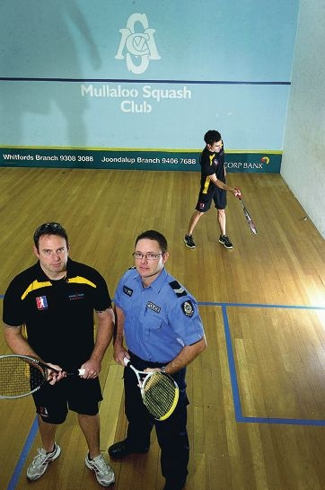 WA Police squash team members Senior Constables Terry Gilmore and Paul Duncan and, at rear, Detective Senior Constable Luke Elsbury. Picture: Emma Reeves