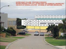 An artist's illustration shows the view from Bahama Close of the revised Sacred Heart College gym proposal when moved 12 metres south.