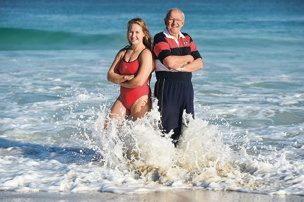 City of Perth Surf Life Saving Club members and awards of excellence winners Shannon Reynolds and Ian Scott.
