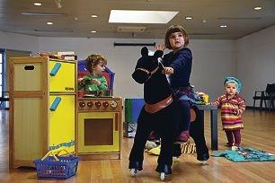 Ned Kingdom (2), Annabel Borushek (3) and Felicity Borushek (1) enjoying the fun of toys.