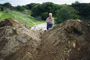 Gary Tremaine got back from a medical appointment on May 30 to find southern access to his property blocked by piles of sand. Picture: Emma Reeves d420805