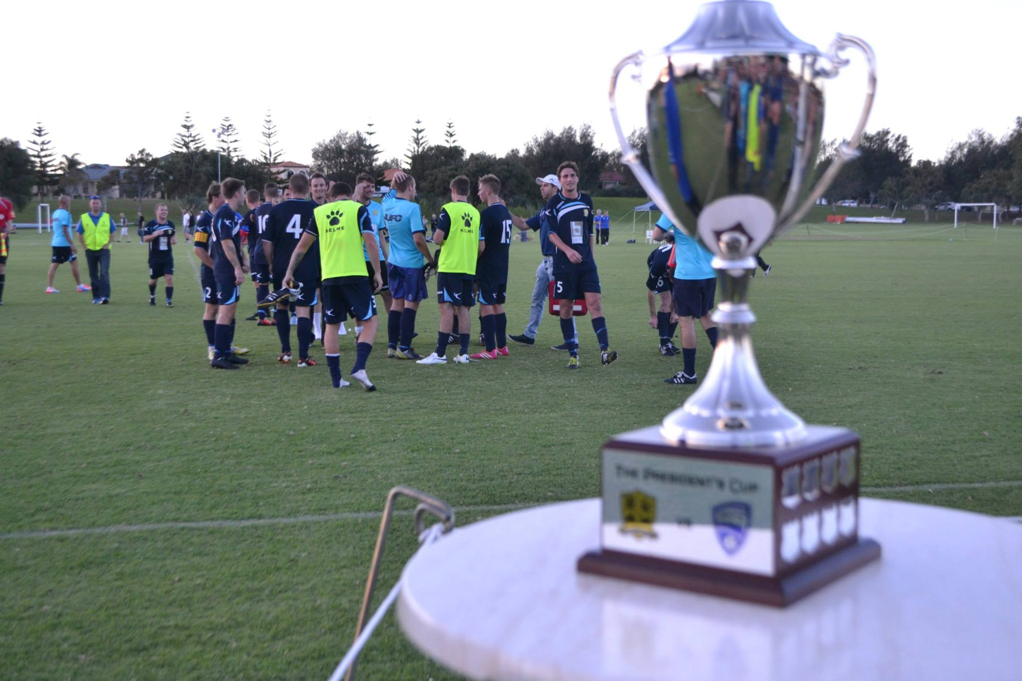 The President's Cup on show at the inaugural Division 2 derby.