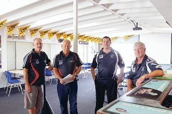 Jeff Kennedy and Peter Cann from East Fremantle Lacrosse Club and Vic Strnadica and Peter Stephen from East Fremantle Cricket Club. Picture: Martin Kennealey d420382
