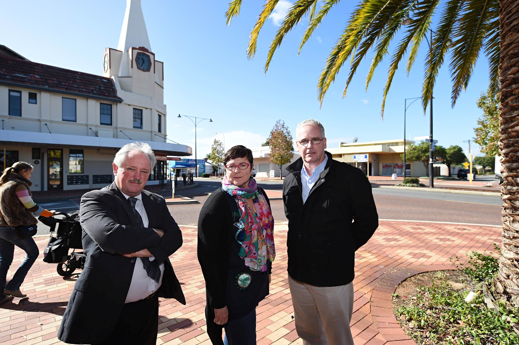 Maylands MLA Lisa Baker with City of Bayswater councillor Barry McKenna (left) and City of Stirling councillor David Lagan in front of Inglewood Clock Tower. Picture: Marcus Whisson www.communitypix.com.au d420581