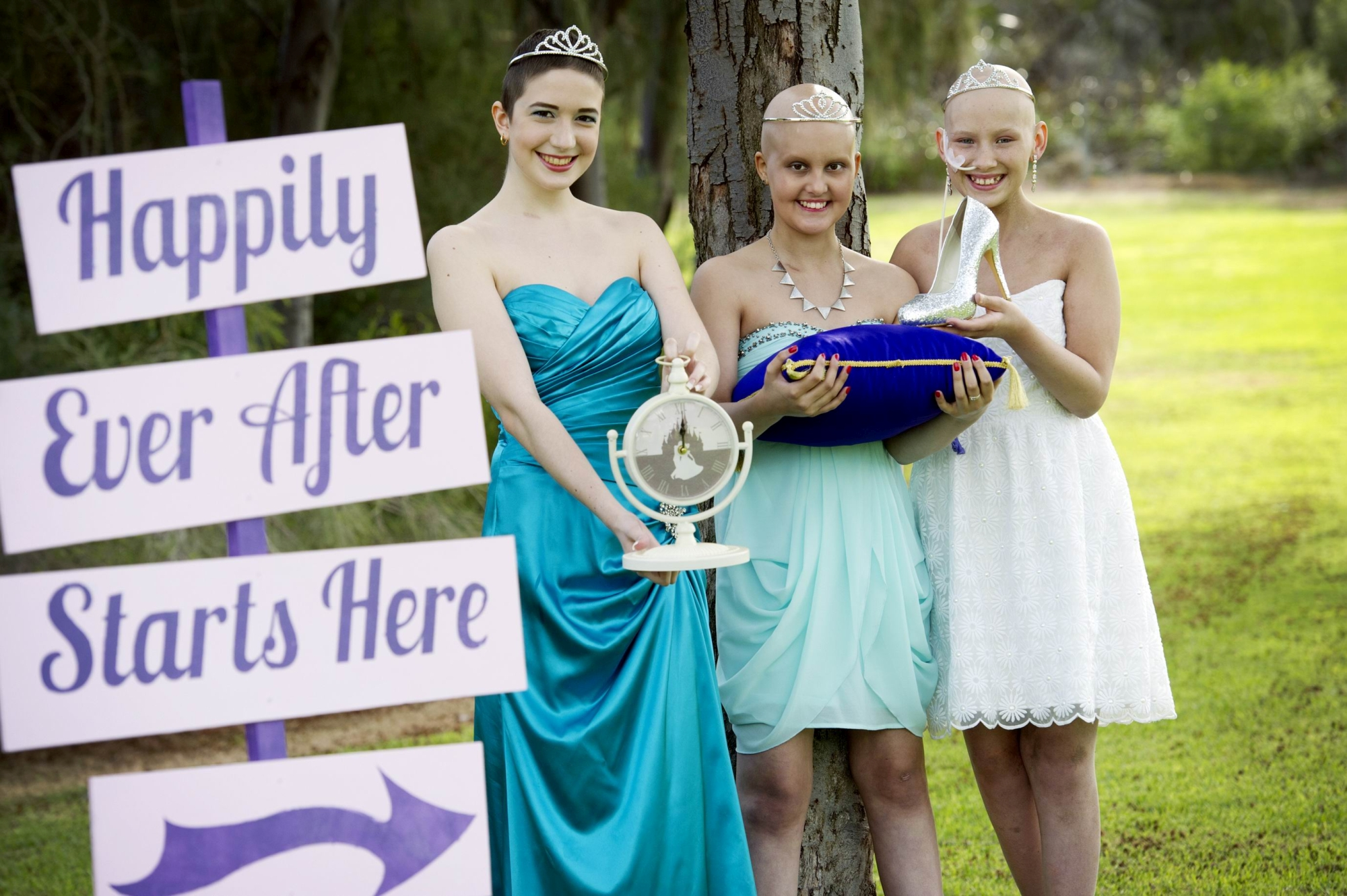 Oceane Bourgault, Chloe Clements and Caitlin Garrett are ready for the Glass Slipper Ball. Picture: Emma Reeves d419793