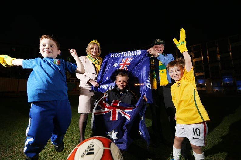 Jordan Marocchi, Lord Mayor Lisa Scaffidi,Jett Boshard, Gary Marocchi and Charlie Rowe get ready for the World Cup. Picture: Andrew Ritchie d420585