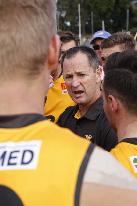 Darren Harris coaching in last year's WAFL state game against the SANFL.                Picture: Duncan Watkinson