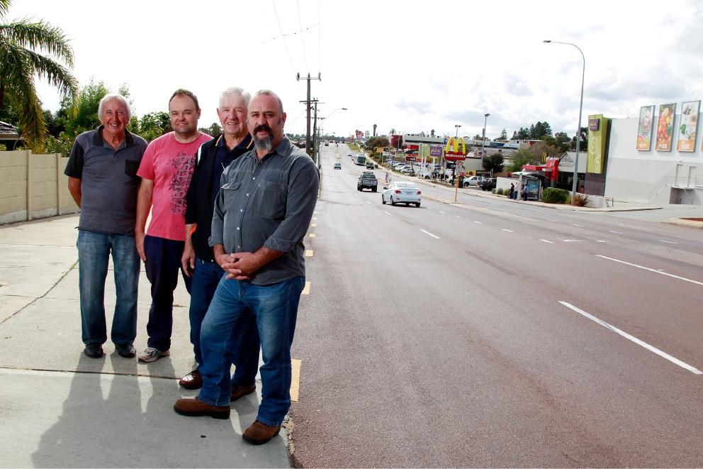 Tony Ravlich, David Mirco, Steve Srhoy and John Cunai on Rockingham Road.Picture: Marie Nirme www.communitypix.com.au   d454348