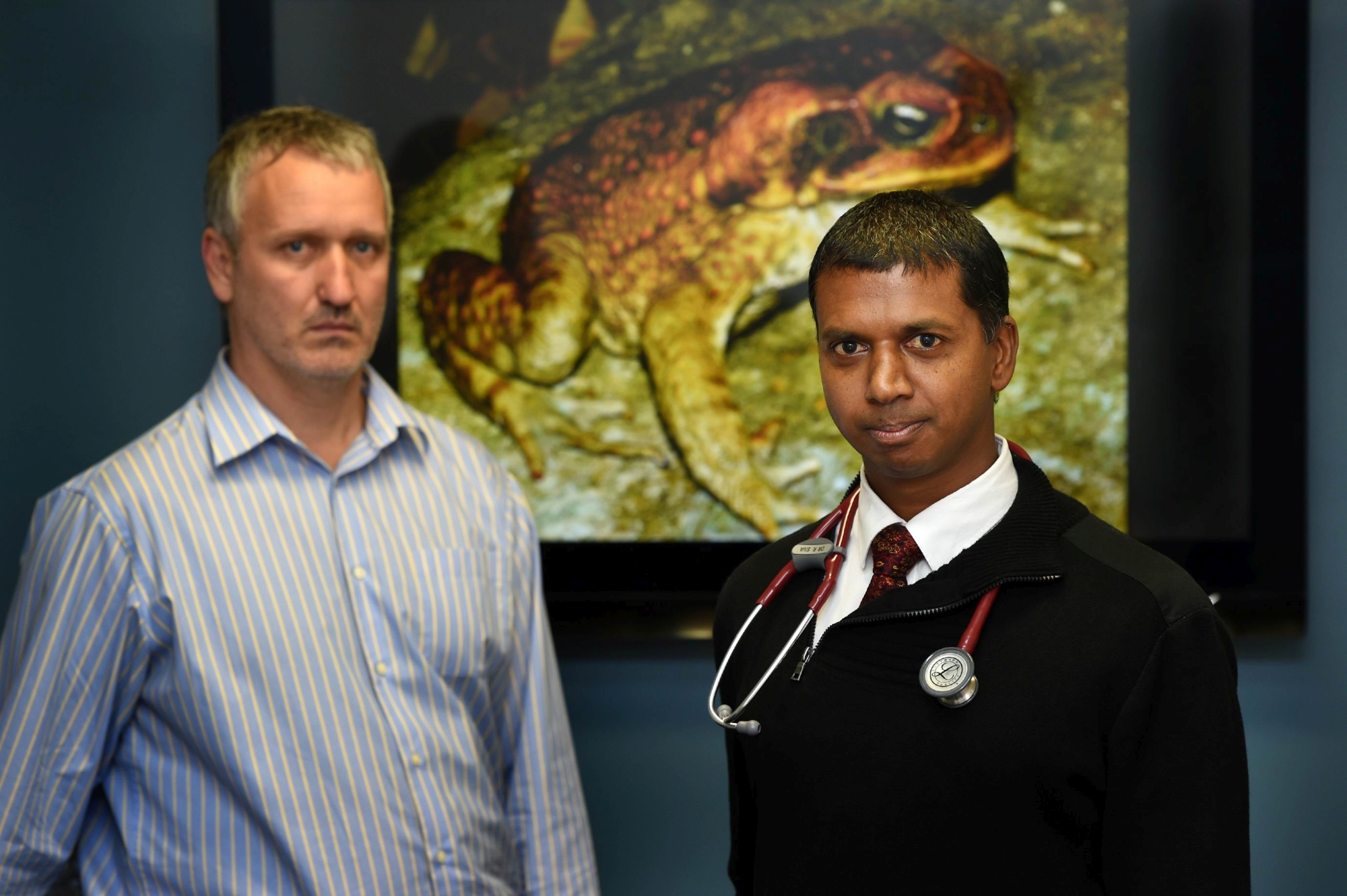 No more cane... concerned Balcatta Veterinary Hospital veterinarians Tony Leeflang and Ramesh K. Sivacolundhu. Picture: Marcus Whisson www.communitypix.com.au d420709