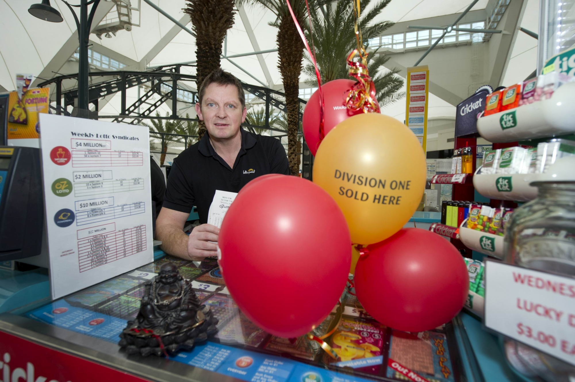 Lottery kiosk owner Matt Hutton. d420627