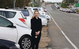 Simone Kenyon says there are few parking options at Cockburn Central train station. Picture: Martin Kennealey www.communitypix.com.au d420501