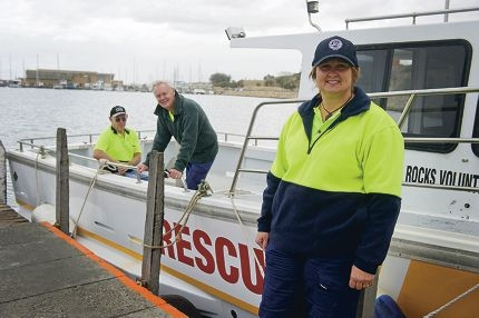 From Left: Bill White, Trevor Hutchinson, Ned Shepherd (NAMES OK). The Two Rocks Volunteer Marine Rescue Group needs more volunteers