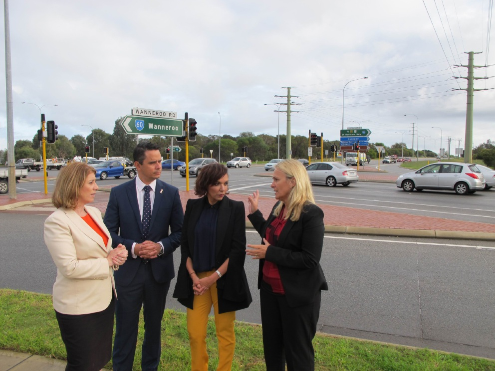 Liberal and Labor politicians visited the Joondalup Drive and Wanneroo Road intersection on the same day to announce different solutions to congestion issues.