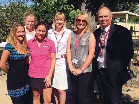 Milly Molly Mandy Childcare Centre staff Paula Pike and Bobbi Wheeler, Shire project officer Fleur Wilkinson, MLA Mia Davies, Cr Louise Allington and Shire President Kym Wilkinson.