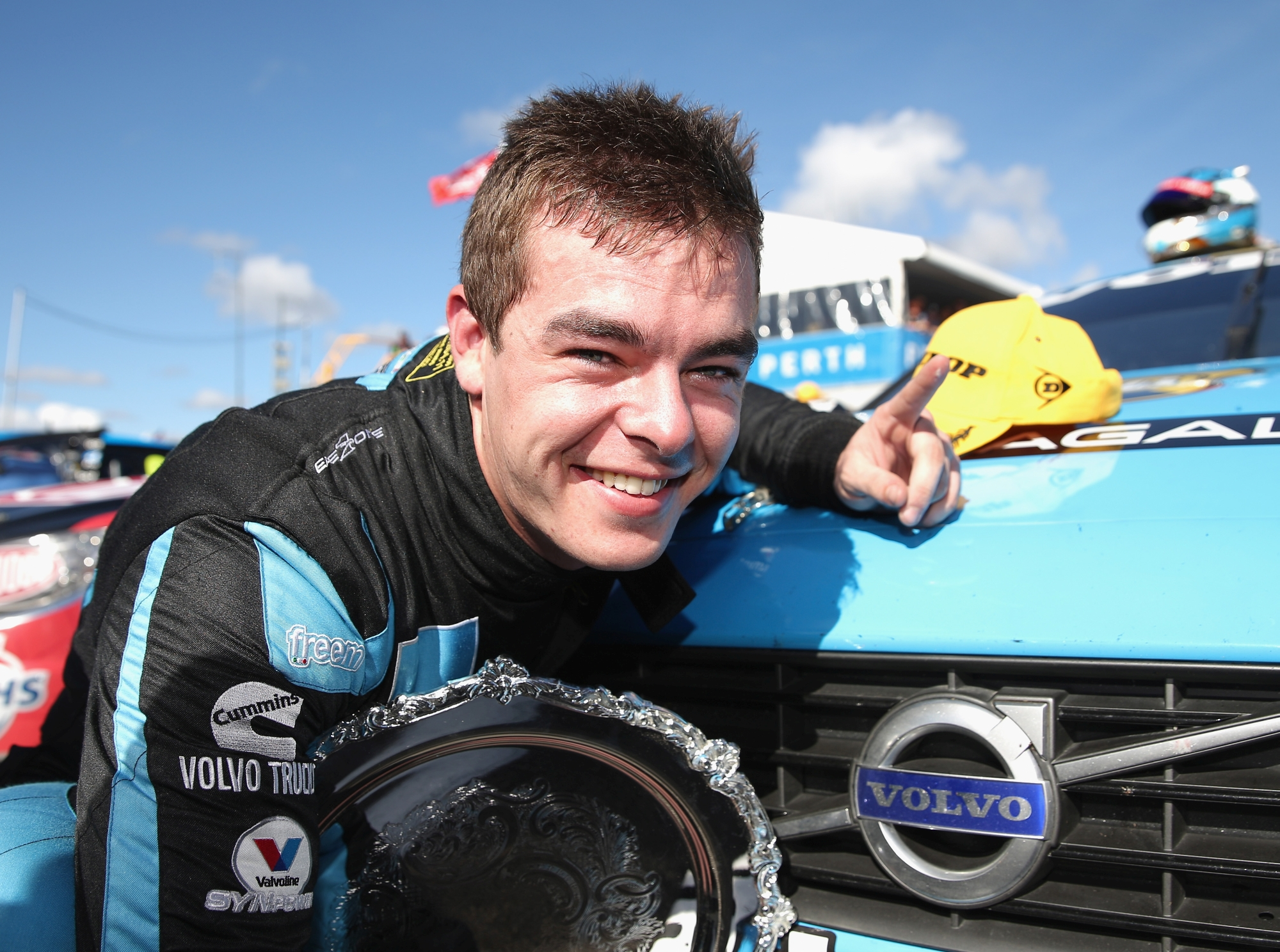 Hero of the day was Scott McLaughlin who flew his blue Volvo to a landmark win in the first of the V8 Supercar races. Picture: Getty Images.