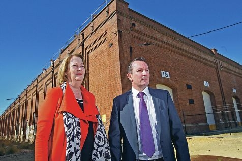Michelle Roberts and Mark McGowan are concerned the State Government's promise for a new university at the Midland Railway Workshops will not be honoured. Picture: Bruce Hunt
