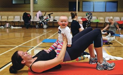 Claire Williams of East Victoria Park and son Frankie take part in a post natal fitness class.