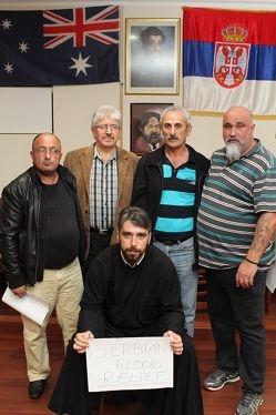 Serbian flood relief: Father Sasa Stojanovic with representatives from Perth's various Serbian clubs, Borislav Krsic, Pavle Novakovic, Milan Jelesic snd Kosta Susnjar.