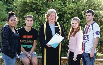 Principal Mary Margetts with Year 12 students Merenaite Aiafi, Kyle Hosking, Amy Cunniffe and Nick Stanculovich. Picture: Martin Kennealey d420238