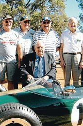 Jeff Dunkerton (second from right at back) with Sir Jack Brabham (front) at the old Caversham circuit on May 1, 2011.