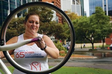 Joondalup resident Stephanie Craft took on the 65 Roses Challenge and ran a whopping 65km throughout May. Picture: Andrew Ritchie