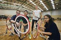 Callan Avis (Year 11), John Saw (Year 10), Tess Allaway (Bicycle Network) and Audrey Zhang (Year 9).