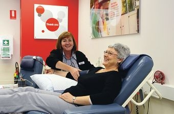 Donor service nursing assistant Elaine Robson with Glenda Lee, of Carlisle.