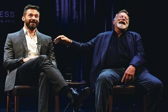 Actors Hugh Jackman and Jack Thompson share a laugh. Picture: Marcus Whisson www.communitypix.com.au d420057