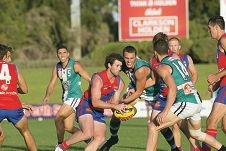 Falcons fight backSteven Browne in traffic against Peel. Picture: Dan White