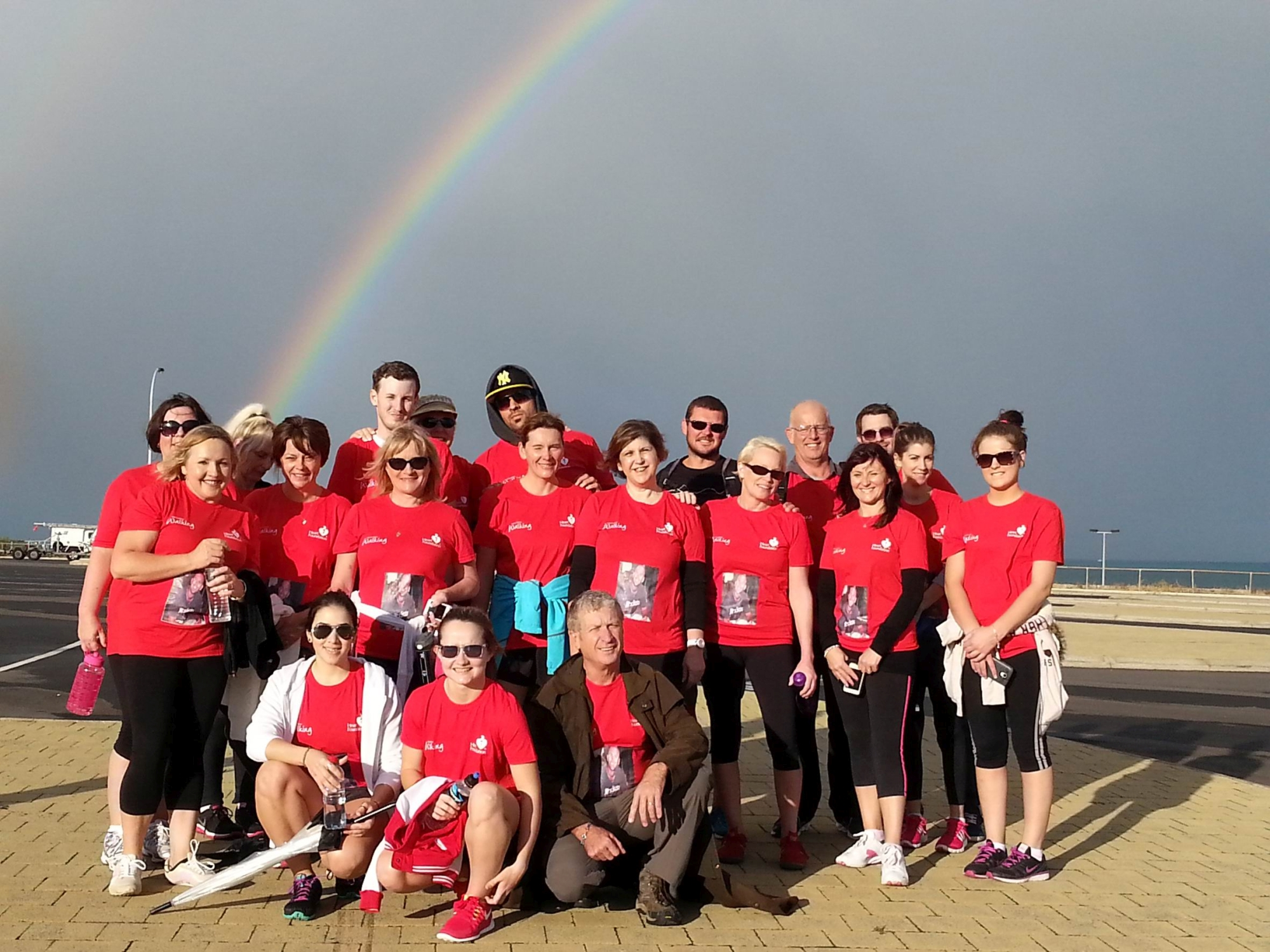 A rainbow during the walk for the National Heart Foundation.