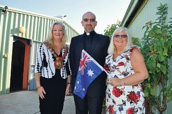 Wanneroo Mayor Tracey Roberts with St James Parish priest John Taylor and wife Angela.
