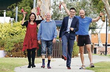 Event organiser Sandy Taylor with Kevin Challen, Victoria Park MLA Ben Wyatt and South Fremantle WAFL captain Ryan Cook. Picture: Elle Borgward www.communitypix.com.au d419345
