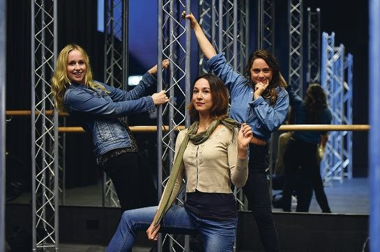 As You Like It performers, from left, Grace Smibert, Jovana Miletic and Cecelia Peters.