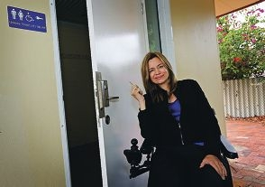 Deputy mayor Claire Anderson with a 'master' toilet key. Picture: David Baylis www.communitypix.com.au d419541