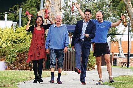 Sandy Taylor, Kevin Challen, Victoria Park MLA Ben Wyatt and South Fremantle Football Club captain Ryan Cook. Picture: Elle Borgwardwww.communitypix.com.au d419345