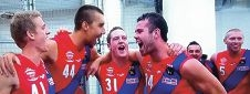 Mitch van Berlo, Seva Martin, Jack Thrum and Max Alexander celebrate West Perth's win. Picture: Fox Footy