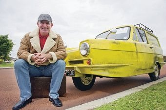 Mike Peden with the 1969 Reliant Regal Supervan MK3 he has imported from Liverpool.