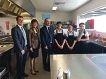 Minister Kim Hames, Kingsley MLA Andrea Mitchell, principal Myles Draper and students.