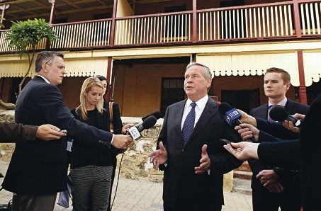 Premier Colin Barnett and Heritage Minister Albert Jacobs announce funding for the Warders Cottages in Fremantle.