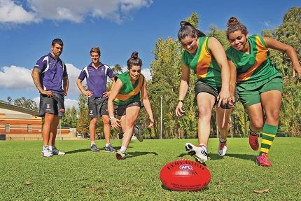 Dockers Clancee Pearce and Matt Taberner with Eliza Gelmi, Asha Price and Siobhann Williams. Picture: Bruce Huntd418881